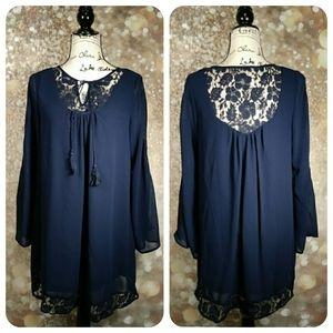 Purple Snow long sleeve navy blue party dress M